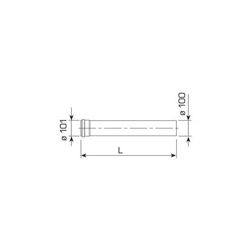 Koaksialinio dūmtraukio prailginimas, 500mm, d 60/100, BRAVA kond. katilams