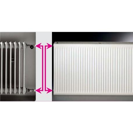 Renovacinis plieninis radiatorius HM 21C-AT-55-1000, prijungimas universalus