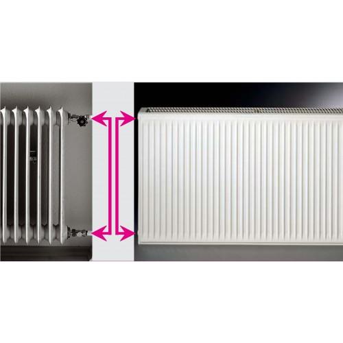Renovacinis plieninis radiatorius HM 21C-AT-55-1200, prijungimas universalus