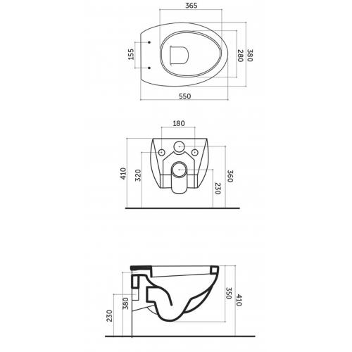 Pakabinamas unitazas OVO 38x55x36 cm, su tvirtinimais, baltas
