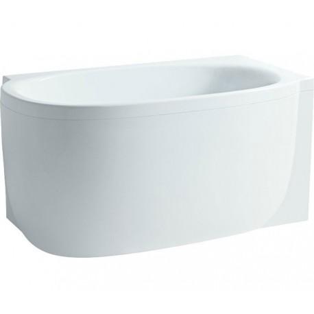 """MIMO vonia 140x80 cm, montuojama į dešinį kampą su kairiniu """"L"""" formos juodu paneliu, su rėmu, balta"""
