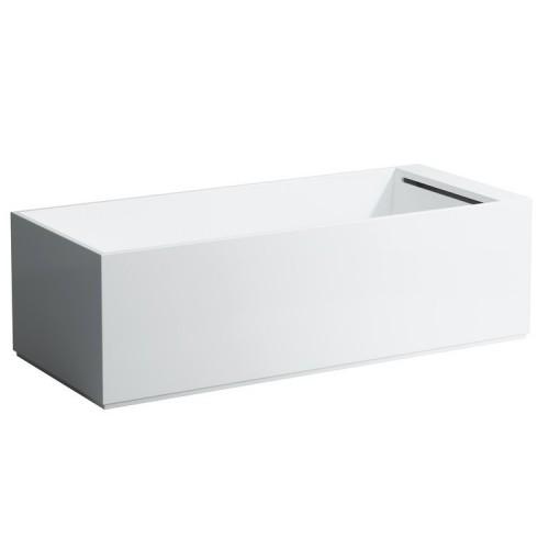 Kartell by LAUFEN laisvai pastatoma vonia iš kompozicinės medžiagos, 1760 x 760 mm, su uždanga, maišytuvas - kojūgalyje