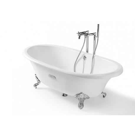 NEWCAST emaliuota ketaus vonia 170 × 85 cm, balta/balta, antislip, talpa 222 l