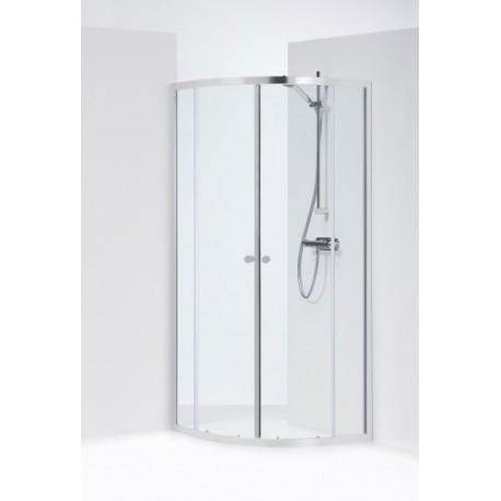 SILVER pusapvalė dušo kabina 90x90x190 cm, poliruoto aliuminio profilis, skaidrus 4mm stiklas,