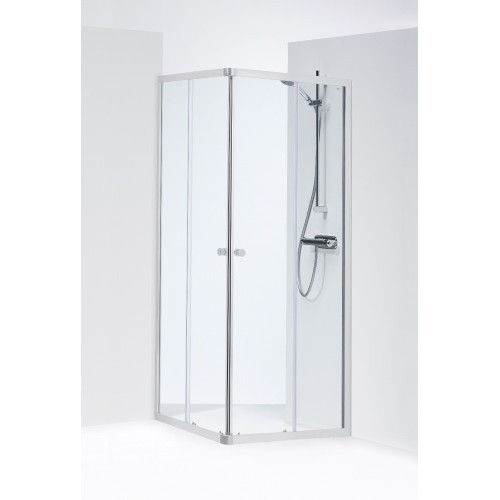 SILVER kvadratinė dušo kabina 90x90x190 cm, poliruoto aliuminio profilis, skaidrus 4mm stiklas,