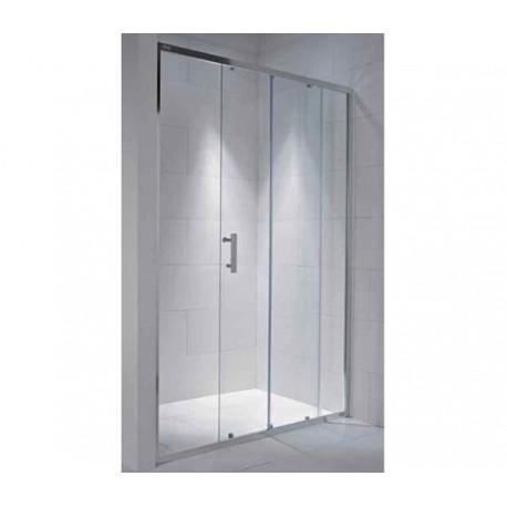 CUBITO pure dušo durelės  100 x 195 cm, po 1 stumd. ir stac. segmenta, arktinis stiklas, sidabr. profilis, kairė/dešinė