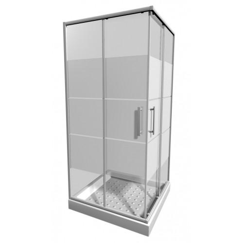 LYRAplus Dušo kabina 80 x 80 x 190 cm, kvadratinė, baltas profilis, stiklas su juostuotu dekoru