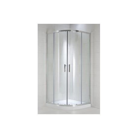 CUBITO pure Dušo kabina 80 x 80 x 195 cm, pusapvalė, 2 stumdomos durys, arktinis stiklas, sidabrinis profilis, 550 mm sp
