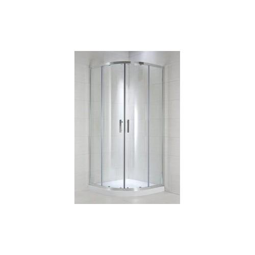 CUBITO pure Dušo kabina 90 x 90 x 195 cm, pusapvalė, 2 stumdomos durys, skaidrus stiklas, sidabrinis profilis, 550 mm sp