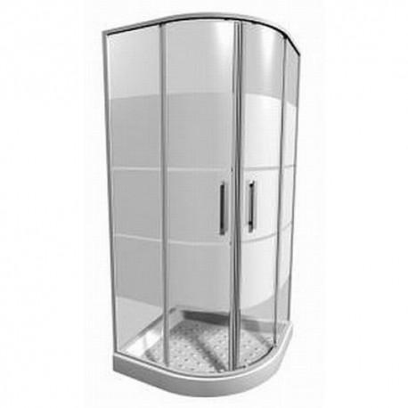 LYRAplus Dušo kabina 80 x 80 x 190 cm, pusapvalė, 550 mm spindulys, baltas profilis, skaidrus stiklas