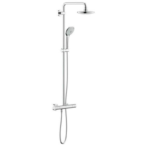 Euphoria dušo-vonios sistema, termostatas, viršutinės galvos diam. 180mm, stovo ilgis 1471 mm, dušo šlangos ilgis 1750 m