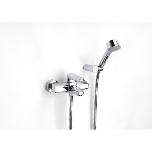 ESMAI vonios/dušo maišytuvas su rankiniu dušu, 1,7 m. žarna ir laikikliu, chromas