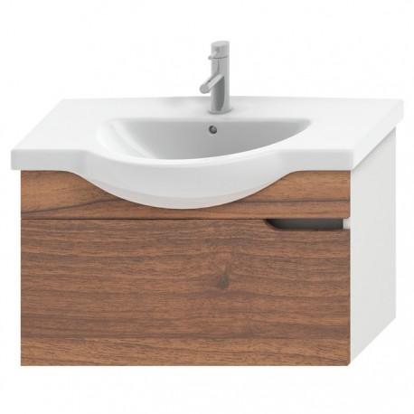 MIO spintelė 85 cm baldiniam praust., 1 stalč., balta / riešutmedis
