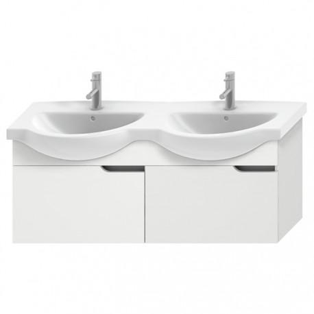 MIO NEW spintelė 130cm dvigubam baldiniam praustuvui, 2 stalčiai, balta