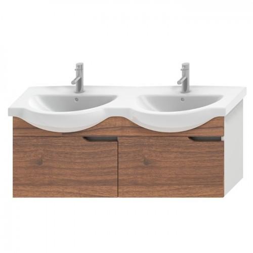 MIO spintelė 130 cm dvigubam baldiniam praustuvui su 2 stalčiais, balta/riešutmedis