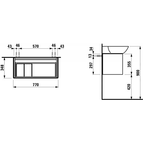 Praustuvo spintelė INO 355x780x350 mm su 1 stalč., sif., praustuvui 8.1330.1/2, matinė balta