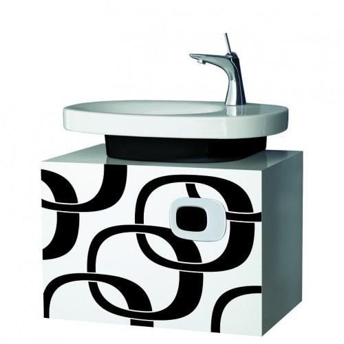 MIMO spintelė po praustuvu su 1 stalčiumi ir chromuota rank., balta su juodu dekoru