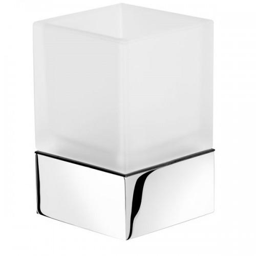 MODERN ART stiklinaitė su laikikliu balta