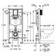 Rapid SL WC rėmas 3/6 ltr.  1,13m (3 in 1) klavišas Skate AIR chromas, tvirtinimai