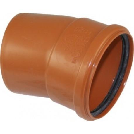 PIPELIFE lauko kanaliz. PVC alkūnė 110/15°