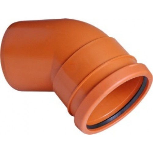PIPELIFE lauko kanaliz. PVC alkūnė 110/45°