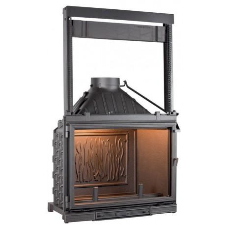 Ketinis židinio ugniakuras Seguin Super 8, su tiesiu pakeliamu stiklu (F0600+ES06)