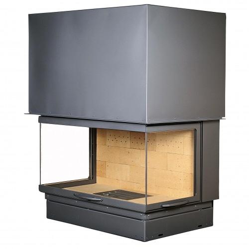Ugniakuras AXIS FH 1200 3V pilkas durų apvadas, tiesus stiklas iš 3 pusių