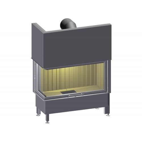 Plieninis židinio ugniakuras Spartherm Varia 2R52-100h-4S, kampiniu (dešinės pusės) stiklu (diam. 200mm)