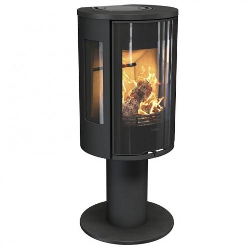 Krosnelė Contura 586:1 Style, juoda, ketiniu viršumi ir durelėmis, trimis stiklais