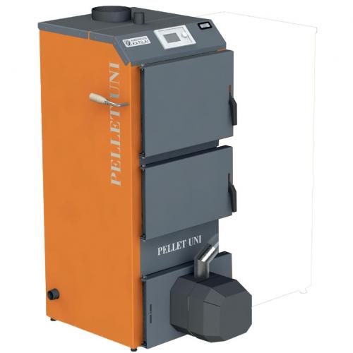 Granulinis katilas 4-12 kW komplekte su rotac. moduliuojamu degikliu ir integruotu 120 l bunkeriu