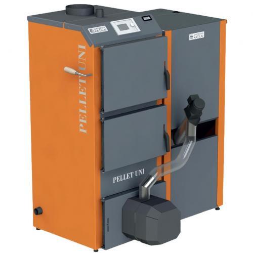 Granulinis katilas 5-16 kW komplekte su rotac. degikliu, sraigtu, 180 l metaliniu bunkeriu