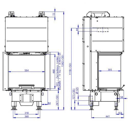 Plieninis židinio ugniakuras Romotop Heat HC3LE21+K1 50.52.31 su montavimo rėmu, trijų stiklų