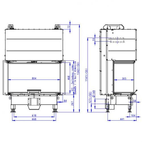 Plieninis židinio ugniakuras Romotop Heat HC3LJ01+K1 80.52.31.01, su montavimo rėmu, lenktu stiklu