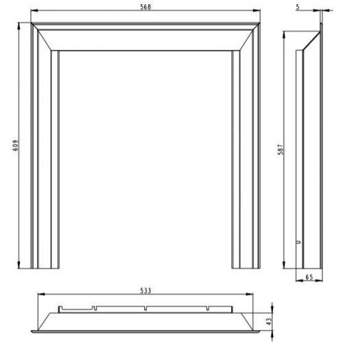 Apdailos rėmas, 3jų pusių, židiniui D2L, DB2L, 60 mm